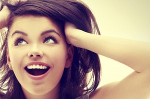 Portrait of excited girl ,